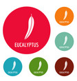 eucalyptus leaf icons circle set vector image vector image