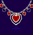 gold necklace red hearts vector image