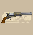graphic detailed old revolver with sheriff star vector image