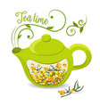 green teapot with sea buckthorn berries lettering vector image vector image