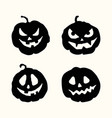 halloween silhouette spooky face pumpkins set vector image vector image