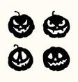 halloween silhouette spooky face pumpkins set vector image