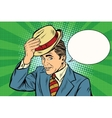hello polite gentleman raises his hat vector image vector image