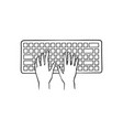 human hands typing on computer keyboard pushing