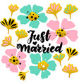 just married lettering postcard vector image