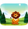 lion in nature landscape vector image vector image