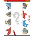 match animal halves cartoon game vector image vector image