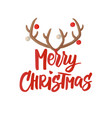 merry christmas card hand drawn lettering vector image vector image