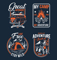 outdoor camping badges vector image vector image