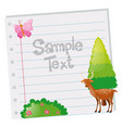 paper template with deer and tree vector image