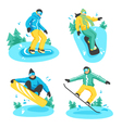People On Snowboard Design Compositions vector image