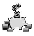 Piggy coin bank in grey vector image vector image