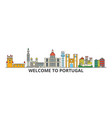 portugal outline skyline portuguese flat thin vector image vector image