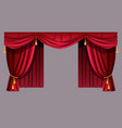 red velvet curtains theater decorations on cornice vector image