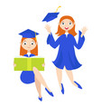 set a graduate with a diploma vector image vector image