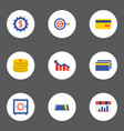set of finance icons flat style symbols with goal vector image