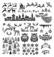 set of silhouette decoration for christmas and new vector image vector image