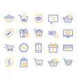 shopping line icons gifts presents and sale vector image vector image
