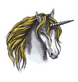 unicorn horse sketch of animal head with horn vector image vector image