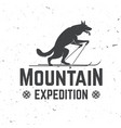 vintage typography design with wolf on the ski vector image vector image