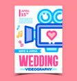 wedding videography advertising poster flat vector image vector image