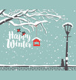 winter landscape with snow-covered tree in park vector image vector image