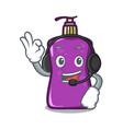 with headphone shampo mascot cartoon style vector image