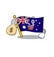 with money bag australian flag clings to cartoon