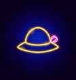 woman hat neon sign vector image