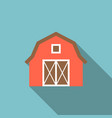 red barn icon with long shadow vector image