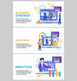 banner set business strategy investment analytics vector image vector image