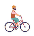 bearded hipster man in hat and casual clothes vector image vector image