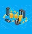 bitcoin mining concept 3d isometric view vector image vector image