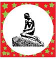 black 8-bit little mermaid statue in copenhagen vector image vector image