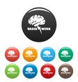 brain work icons set color vector image vector image