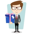 Businessman with colorful gift boxes vector image vector image