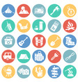 camping icons set on color circles white vector image vector image