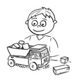 cartoon boy playing with toy car and wooden vector image