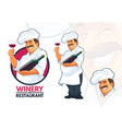 chef serving wine vector image vector image