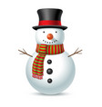 christmas snowman with hat and scarf vector image