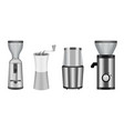 coffee grinder icons set realistic style vector image