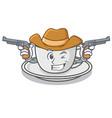 cowboy coffee character cartoon style vector image vector image