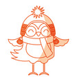 cute shadow christmas bird cartoon vector image