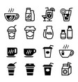 drinking icon set vector image vector image