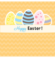 Easter orange card with five eggs vector image vector image