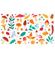 fall botanical decor autumn doodle forest leaves vector image
