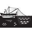 fishing ship in the sea vector image