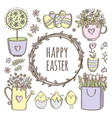floral easter clip art collection vector image