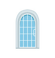 glass paned arched front door closed elegant vector image vector image