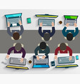 group of business people working using digital vector image vector image